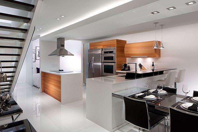 Дизайн просторной кухни в стиле хай тек