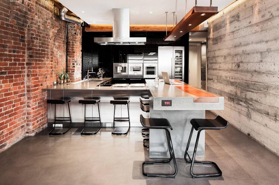 Кухня-гостиная в стиле лофт с кирпичной стеной