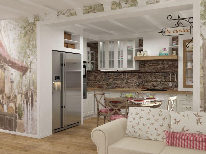 Оформление кухонной зоны в стиле прованс