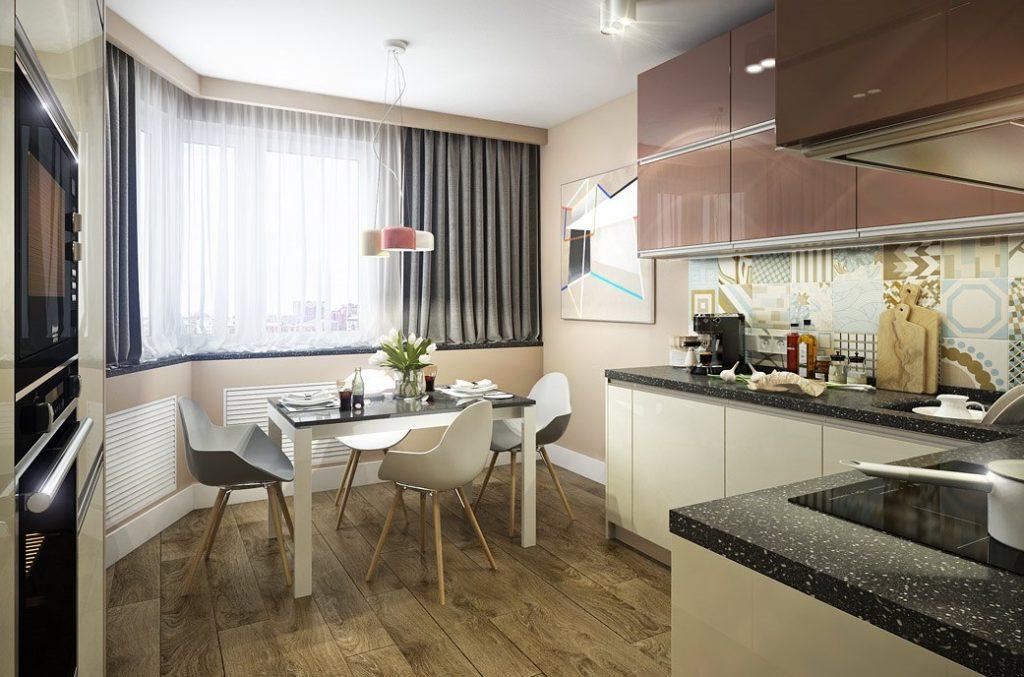 Дизайн кухни в квартире с полуэркером