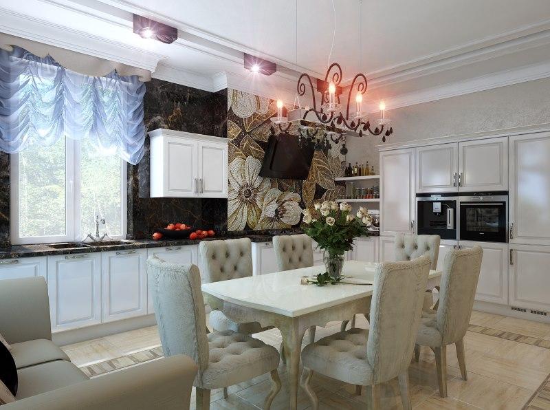 Дизайн кухни столовой в стиле арт деко