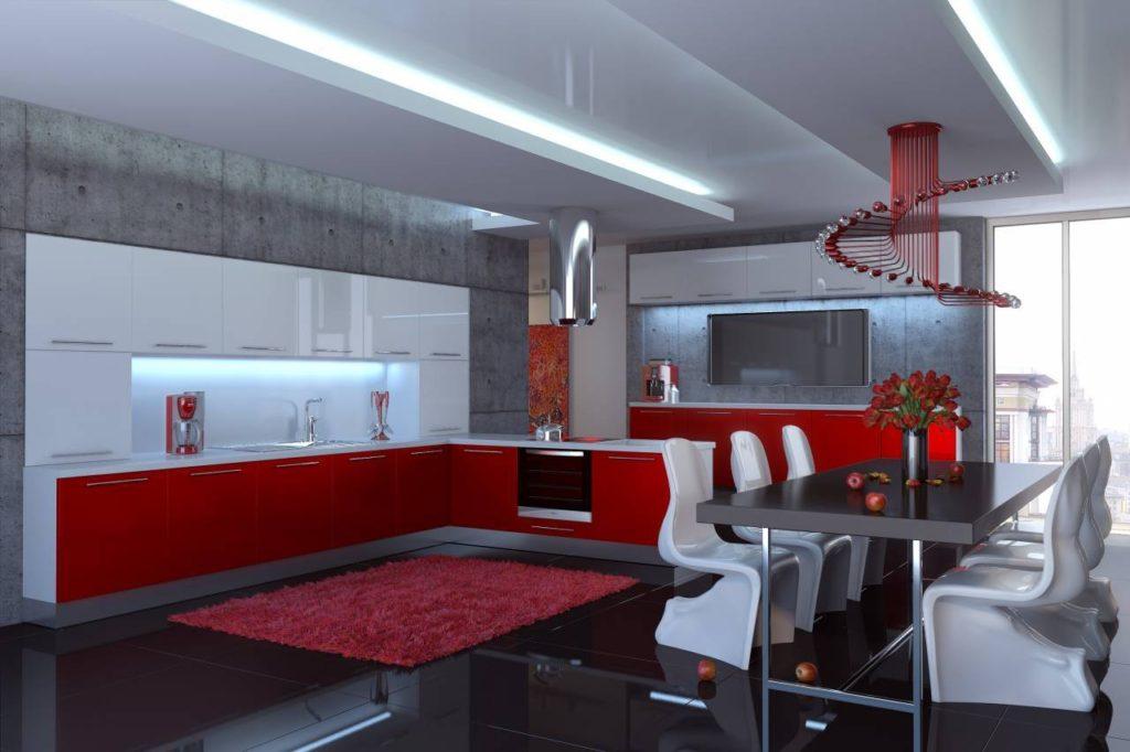 Дизайн кухни столовой в техническом стиле
