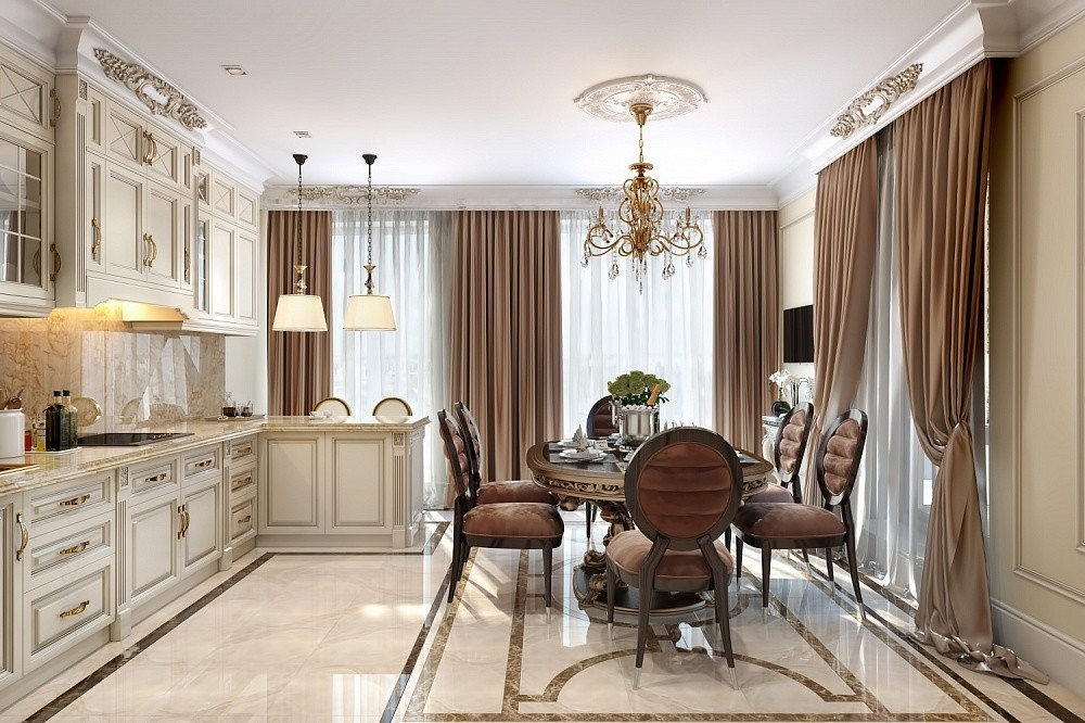 Дизайн просторной кухни-столовой в стиле классики