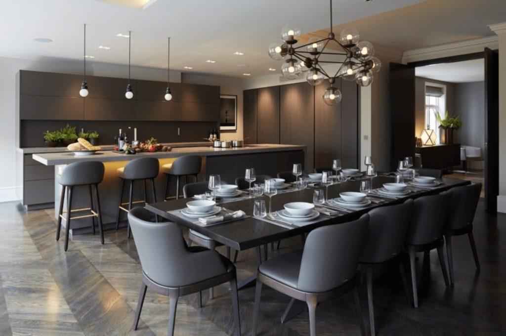 Интерьер кухни столовой в стиле минимализма
