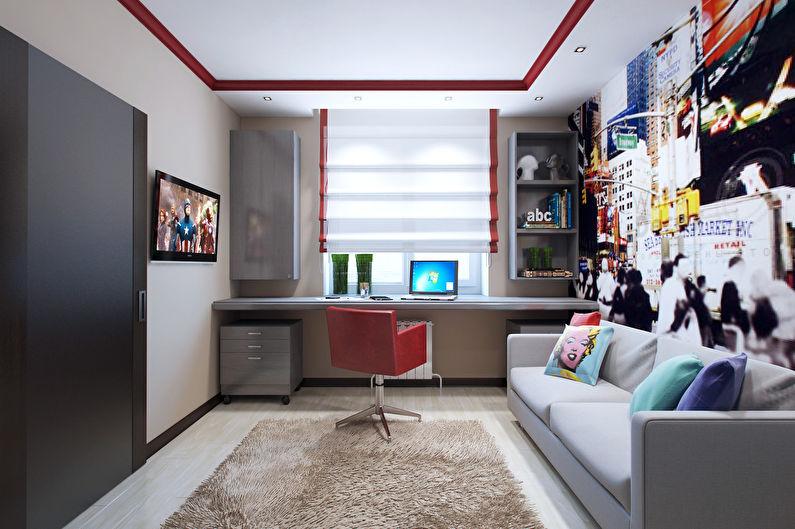 Расстановка мебели в квадратной детской комнате