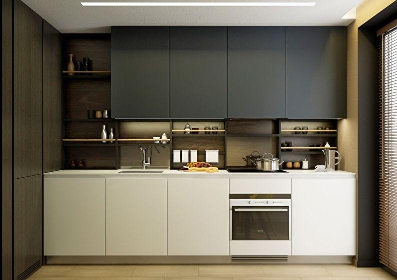 Кухонный гарнитур линейной планировки с контрастными фасадами