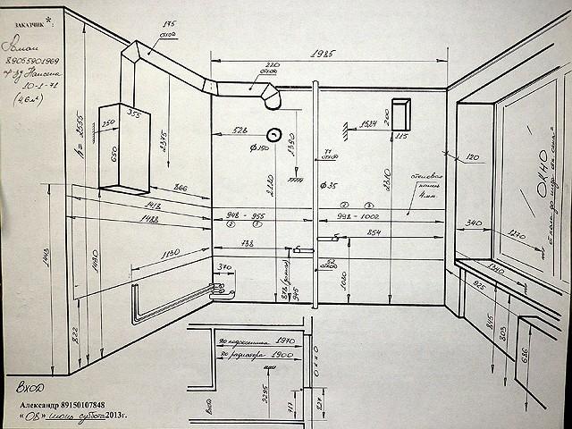 Схема профессионального замера кухни для изготовления гарнитура