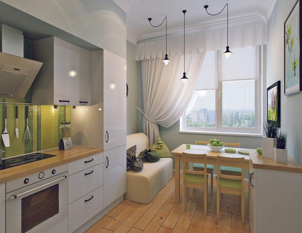 Дизайн компактной кухни-столовой в небольшой квартире