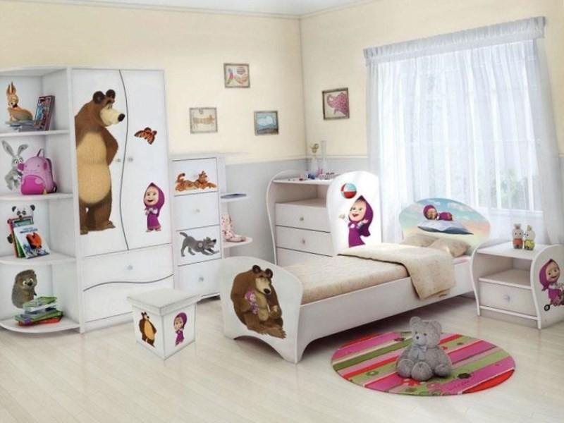 Оформление детской комнаты по мотивам мультфильма Маша и медведь