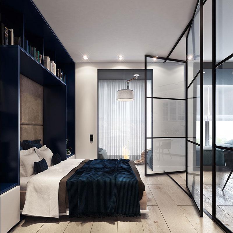 Поворотные секции стеклянной перегородки в спальне