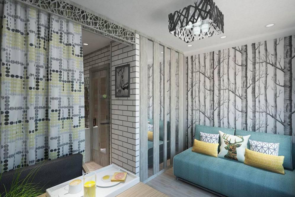 Обои с деревьями на стене небольшой гостиной