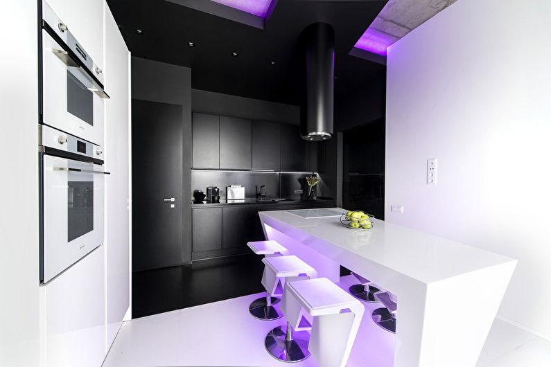Приглушенное освещение кухни в стиле хай тек
