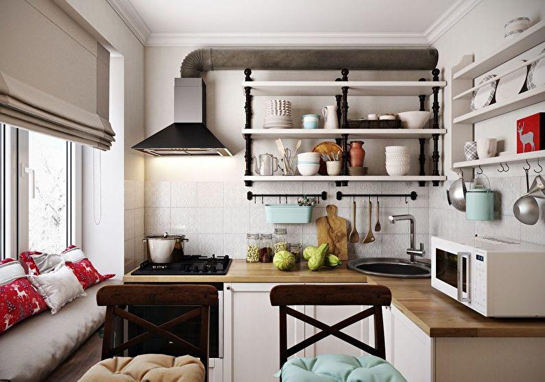 Хранение посуды на открытых кухонных полках