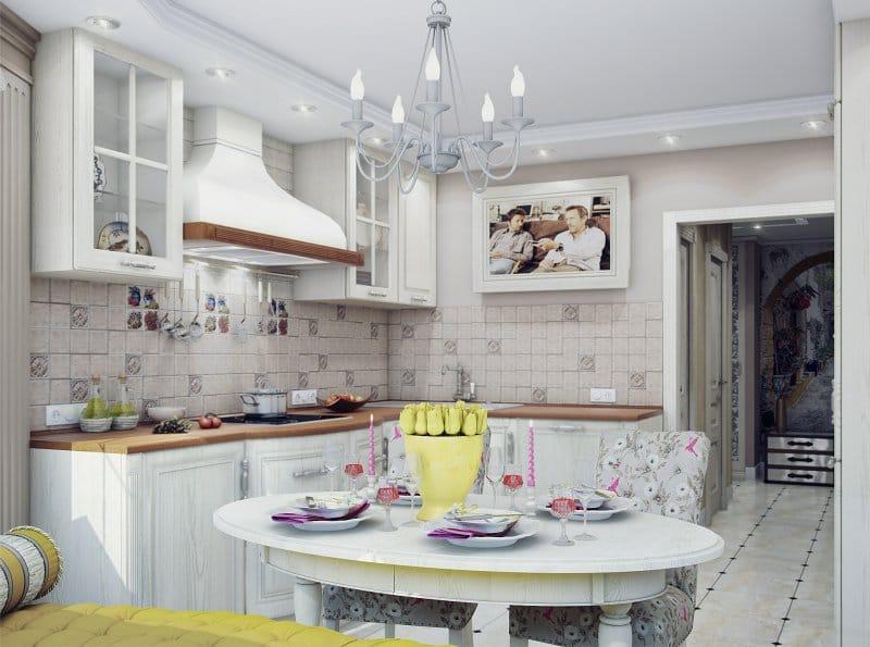 Овальный стол на кухне с угловым гарнитуром