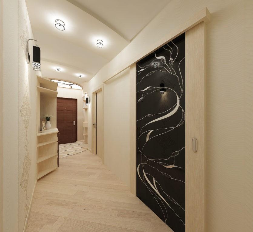 светильники на потолке длинного коридора квартиры