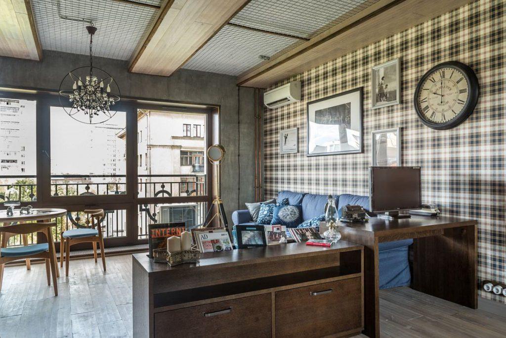 Металлическая сетка на потолке квартиры в стиле лофт