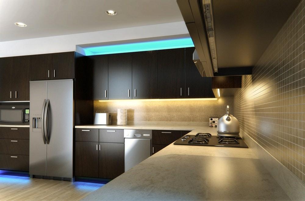 Подсветка рабочей зоны в современной кухне