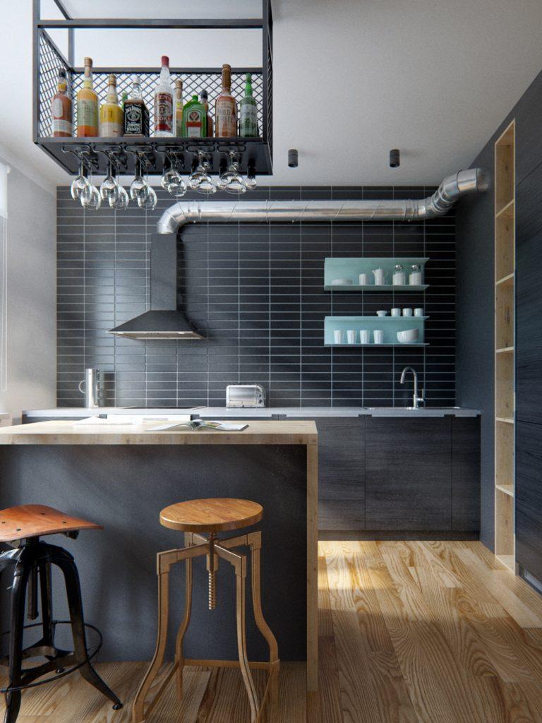 Дизайн рабочей зоны кухни в индустриальном стиле