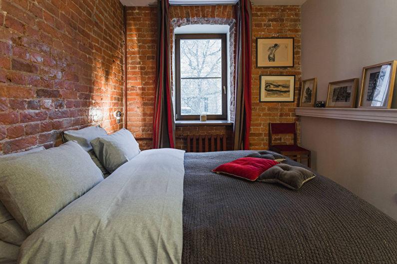 Красные кирпичные стены спальни в стиле лофта
