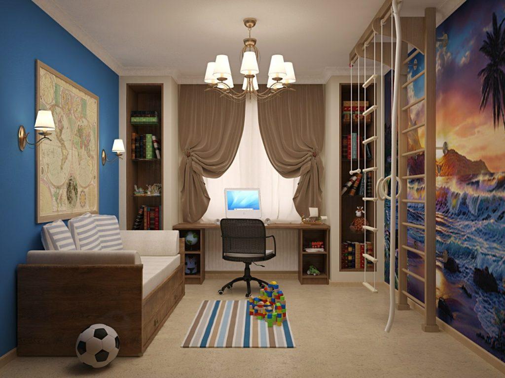Спортивный уголок в дизайне детской комнаты