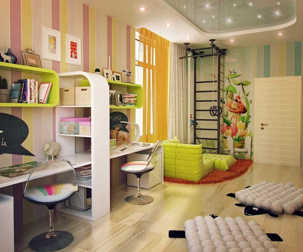 Спортивный уголок в комнате для двоих детей