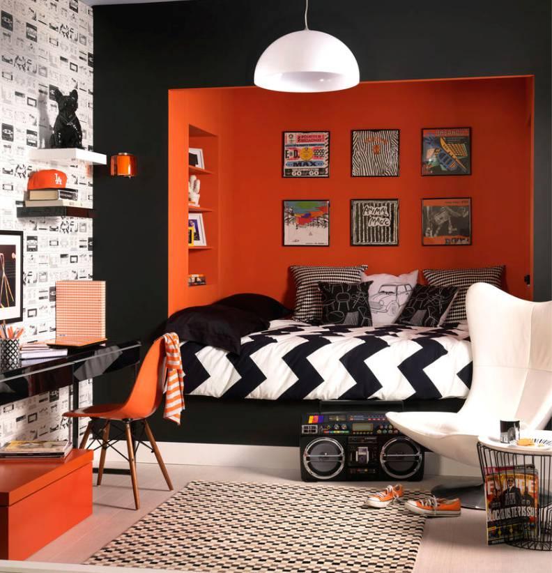 Оранжевый цвет в интерьере комнаты для мальчика 17 лет