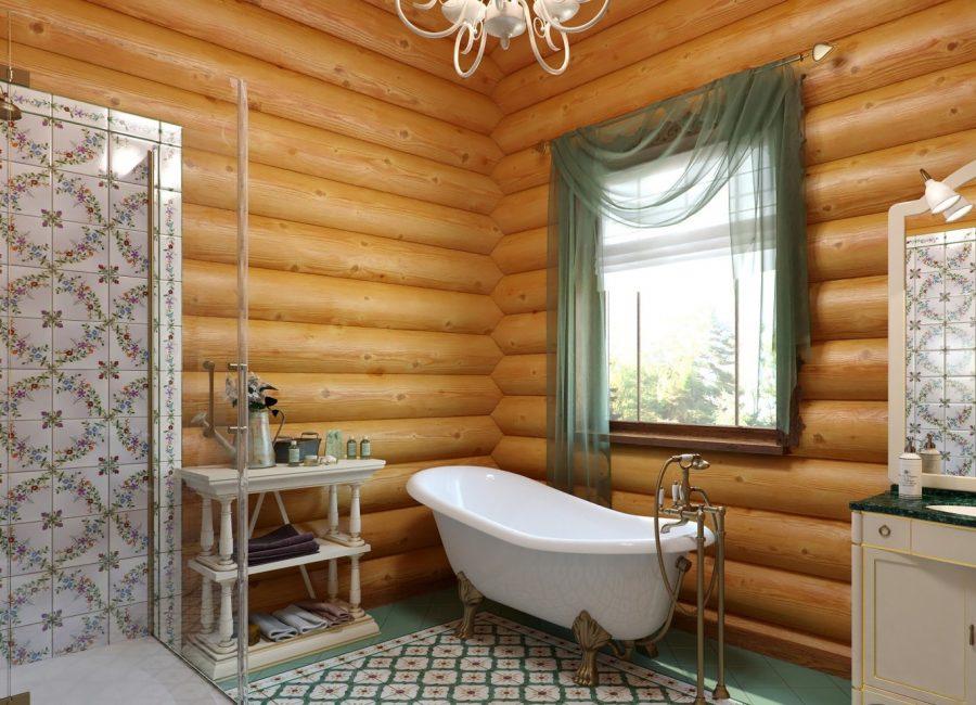 Белая ванна перед окном срубового дома