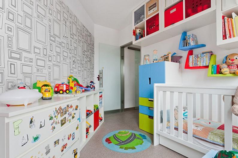 Интерьер детской комнаты со скошенным углом