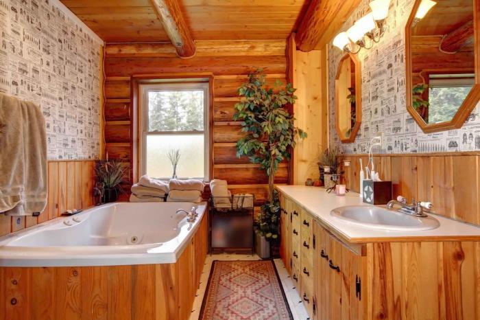 Интерьер ванной в деревянном доме с стиле кантри