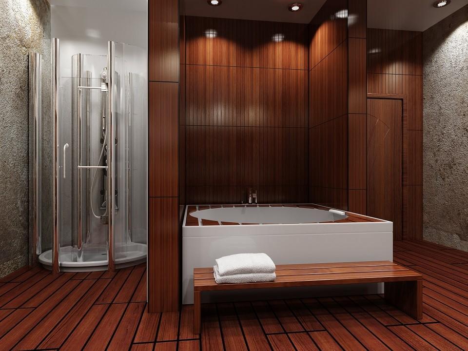 Деревянный пол в ванной японского стиля
