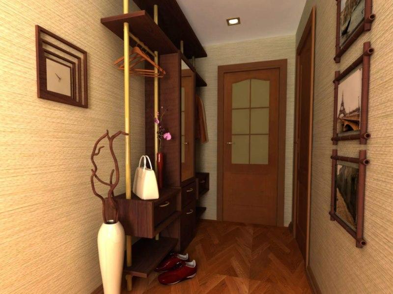 Виниловые обои на стенах прихожей в квартире