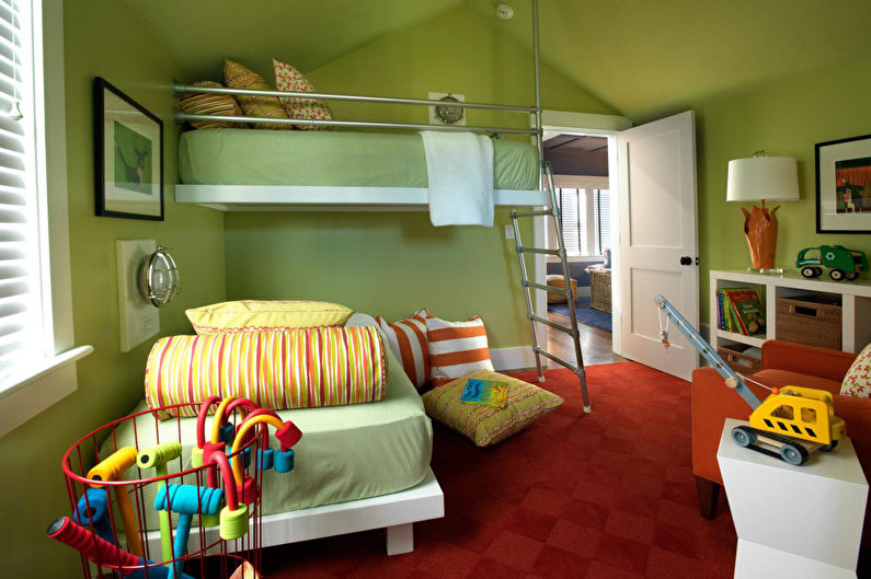 Интерьер детской с зелеными стенами