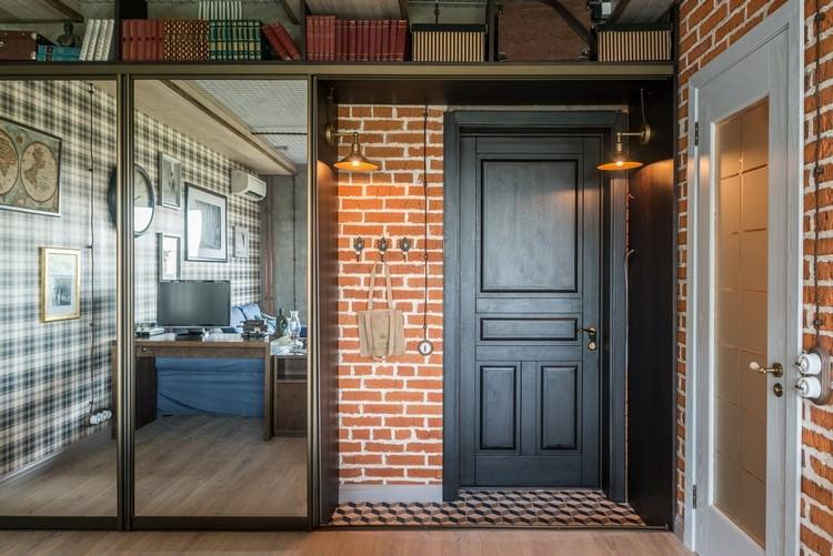 Зеркальный шкаф в гостинке индустриального стиля