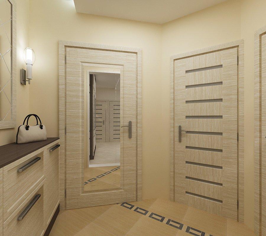Входная дверь квартиры с зеркалом