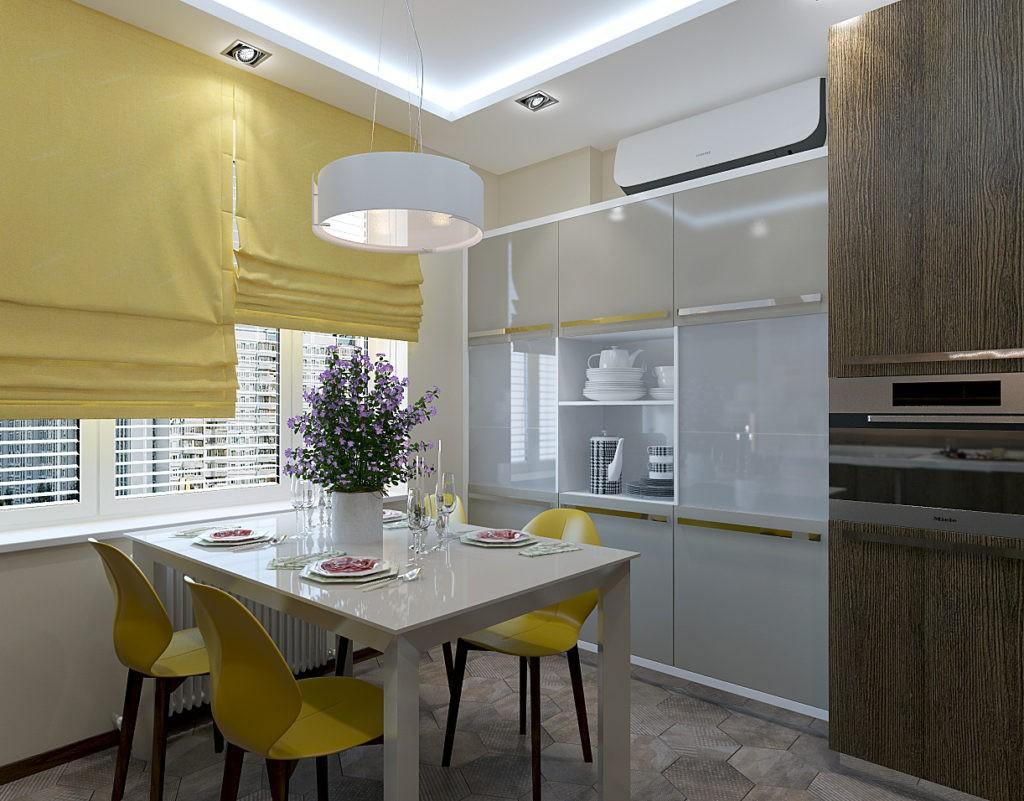 Желтые стулья в интерьере кухни