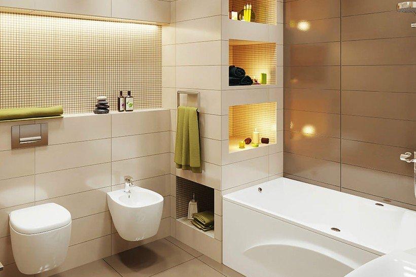 Интерьер бежевой ванной в современном стиле