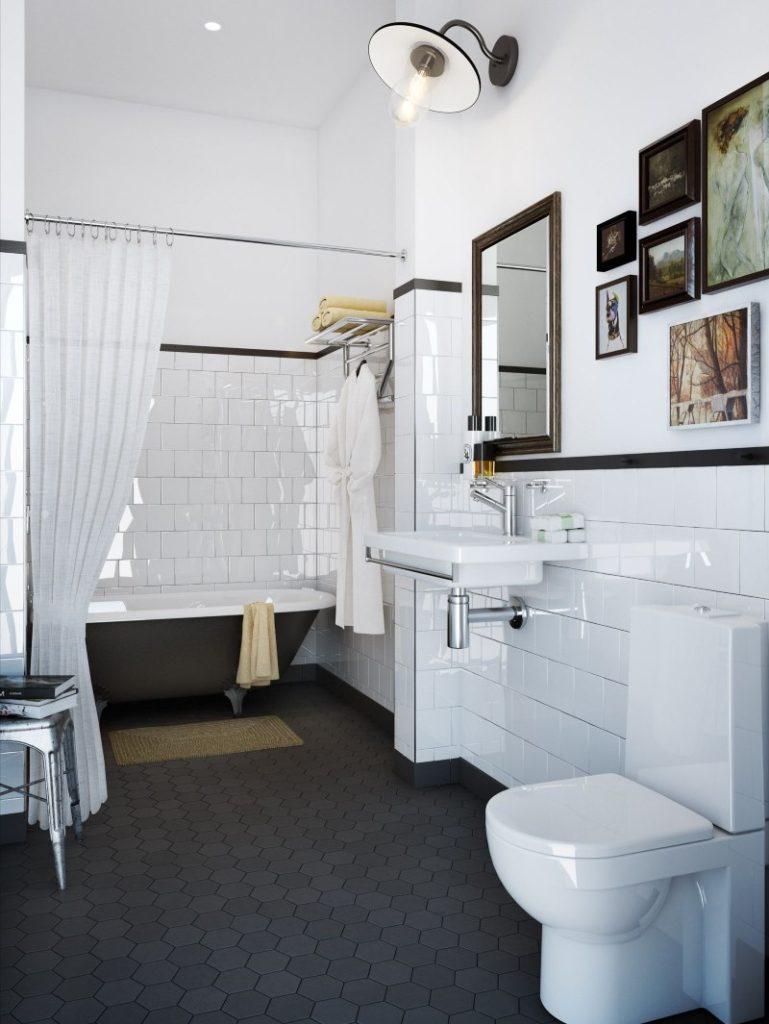 Интерьер большой ванной с туалетом