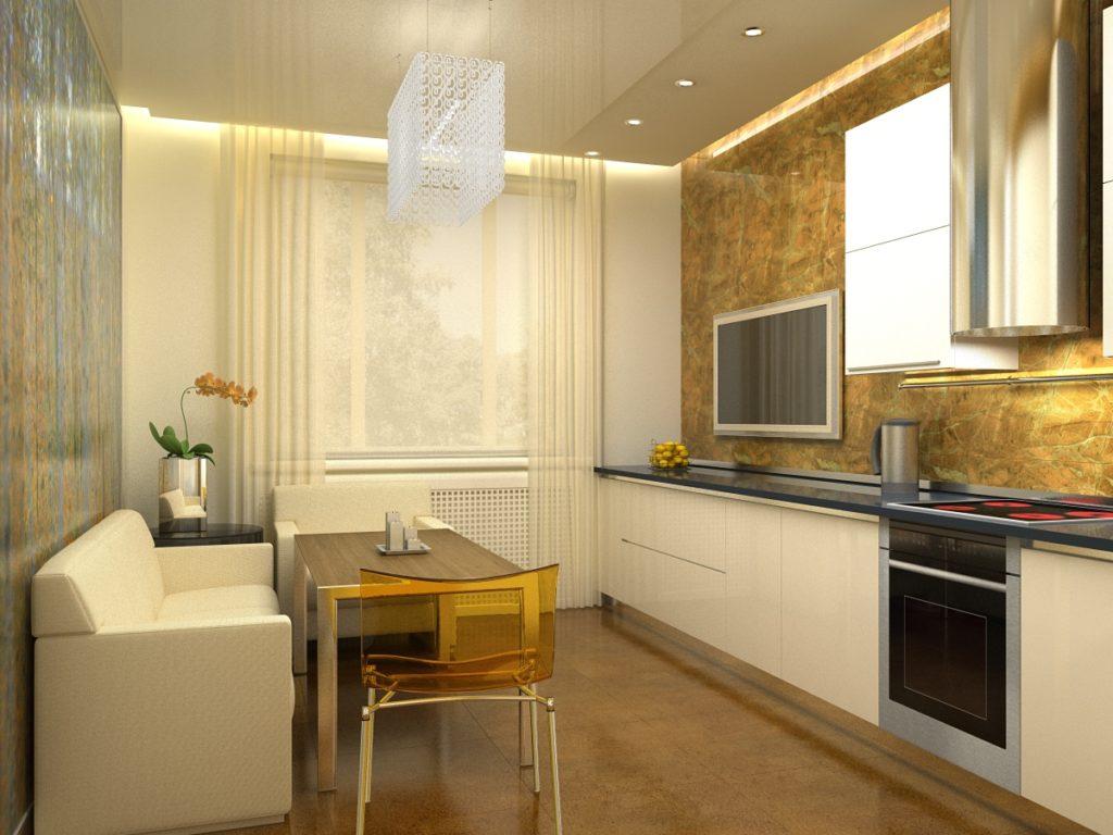 Диван в интерьере прямоугольной кухни