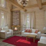 Дизайн гостиной с имитацией камина