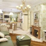 Классический интерьер кухни гостиной