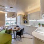 Дизайн кухни с диваном в современном стиле
