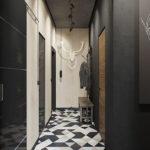 Керамическая мозаика на полу вытянутого коридора