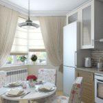 Дизайн прямоугольной кухни с эркером