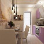 Узкая кухня с балконной дверью