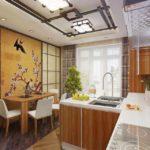 Оригинальное оформление потолка в кухне восточного стиля
