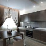 Коричневая мебель в современной кухне