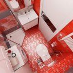 Дизайн ванной с красным полом