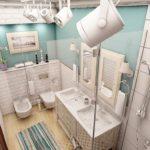 Софиты на потолке совмещенной ванной