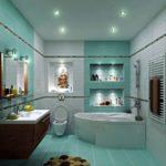 Точечные светильники на потолке совмещенной ванной
