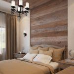 Деревянное панно в спальной комнате